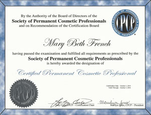 Society of Permanent Cosmetic Professionals Certificate