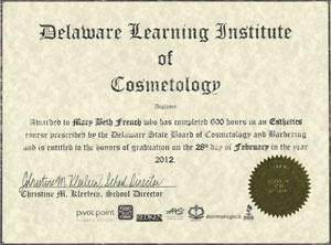 Certificate Delaware Learning Institute of Cosmetology
