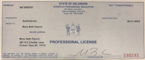 Aesthetician Professional License
